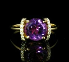 FINE ROUND NATURAL 3.50ctw PURPLE AMETHYST & DIAMOND SOLID 14K YELLOW GOLD RING