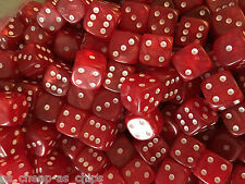 25 x Red Pearl Dice D6 12mm White  pips Spots RPG Warhammer  40k