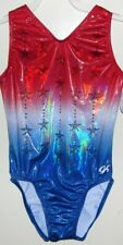 Nwt Gk Elite Rwb Patriotic Stars Red Blue Gymnastics Leotard Child & Adult Sizes