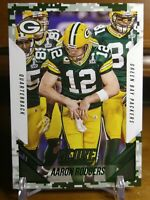 Aaron Rodgers SSP Photo Variation Green Camo Parallel!! Green Bay Packers