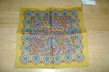 "New Macclesfield 100% silk pocket square 12"" reversible Paisley gold hand rolled"