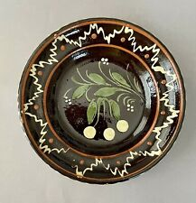 Handpainted Brown Ceramic Dutch Folk Art Pottery Redware 8.5 in. PLATE Free Ship