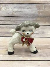 Old Vintage Ceramic Baby Lamb w Red Bow Tie Figurine Japan