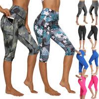 FITTOO Womens Capri YOGA Pants Pockets Run Gym Sport Fitness Cropped Leggings US