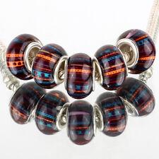 Line dot 5pc SILVER MURANO bead LAMPWORK fit European Charm leather Bracelet DIY