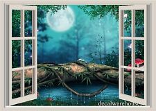 Nightime Moon Window View Repositionable Color Wall Sticker Wall Mural