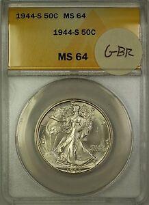 1944-S Walking Liberty Silver Half Dollar 50c Coin ANACS MS-64 GBR