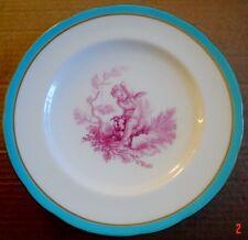 Minton A6085 Cherub Cupid Landscape Turquoise Edge Pink Cherub Circa 1861 - 1890