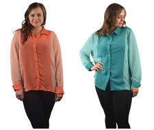Two Tone Chiffon Blouses Semi-Sheer Color and Size Choice