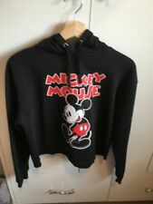 Disney black mickey mouse cropped hoodie size 10/12 h&m