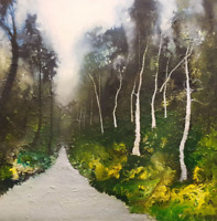 """STUNNING ORIGINAL ISABELLE AMANTE """"Path to unknown"""" moody landscape OIL PAINTING"""