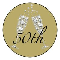 12 gold 40th 50th 60th 70th 80th 90th birthday party stickers diamonds favors