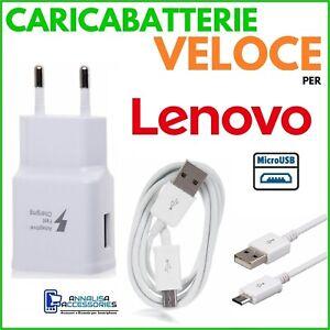 CARICABATTERIE VELOCE FAST CHARGER per LENOVO TAB M7 PRESA MURO + CAVO MICRO USB