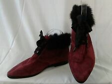 Womens Romeo Bettini Ankle Boot Burgundy Suede  Low Heel  Size 7.5