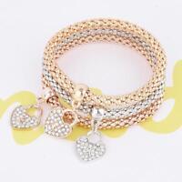 Women 3Pcs/set Gold Silver Rose Gold Bracelets Rhinestone Bangle Jewelry.