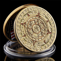 Mexico Mayan Aztec Calendar Art Prophecy Culture 1.57*0.12 Gold Coin Collectible