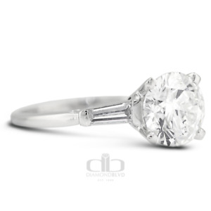 2.02 CT D SI2 Round Natural Certified Diamonds 18K Gold Classic Three Stone Ring