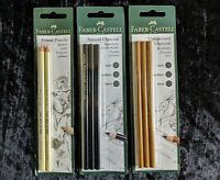 Faber-Castell Natural Charcoal x 3, Compressed Charcoal x 3, Erasers x 2 Pencils