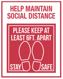 Stay 6ft Apart Sign, Social Distance Sign - Pack of 2