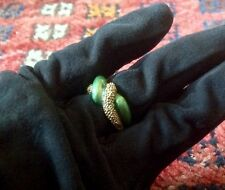 FRENCH 14k YELLOW GOLD GREEN ENAMEL BICOLOR SZ 6.25 WAVE RING BAND