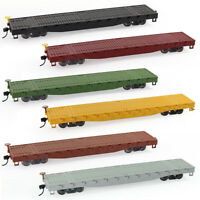 3pcs HO Scale 52ft Flat Car Pure Color Flatbed Carriage 1:87 Freight Car