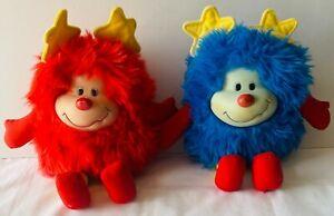 RAINBOW BRITE Sprite Red Blue Champ 2 Plush Toy Dolls VINTAGE Hallmark 1983 30cm