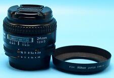 Nikon NIKKOR 24 mm F2.8D AF Lens EXc+++++++++W/Caps & Hood 2ND