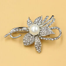 1 X Clear Rhinestone Silver Charming Flower Pearl Brooch Pin For Wedding Party