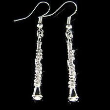 Clarinet Woodwind~ made with Swarovski Crystal Musical Instrument Earrings Gift