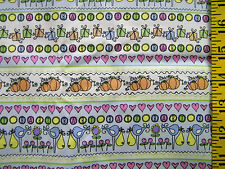 SWEET PEA BABY STRIPES PASTEL NURSERY PRINT 100% COTTON FABRIC BY THE 1/2 YARD