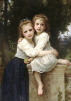 Oil painting William-Adolphe Bouguereau - Young girls sister in landscape 36""
