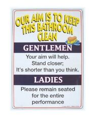 Bathroom Rules Tin Sign (FUNNY) adult potty
