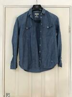 Jack Wills Blue Casual Shirt Size 8 Womens Long Sleeve Great Condition (F6)