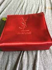 Yves Saint Laurent Parfum Cosmetic Makeup Travel Bag Red w/ Gold pull YSL LOGO