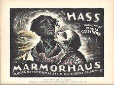 Original vintage poster print HATE FILM 1920 Fenneker