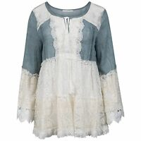 Ladies Denim Cream & Off White Lace Bell Sleeve Tie Front Sleeve Blouse/Top