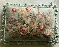 "Beautiful Large Decorative Floral Needlepoint Pillow 16"" x 23"" Excellent Quality"