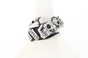 Ed Hardy Tattoo You Black Enhanced Genuine Diamond Stainless Men's Band Ring