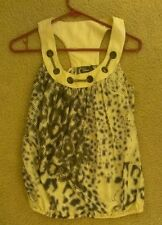 Woman's Guess dressy 100% silk cream shirt grey/purple dots & chain design xs