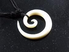 Amulett  Bone Spirale Knochen Anhänger Band Handarbeit Maori Halskette Talisman