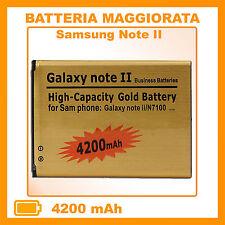 BATTERIA GOLD MAGGIORATA per SAMSUNG GALAXY NOTE 2 N7100 4200 mAh - NO DOGANA