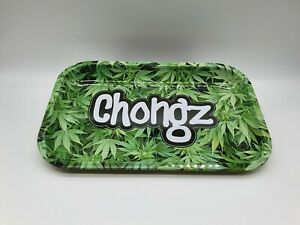 27.5cm x 17.5cm Chongz Rolling Tray Green Leaf Medium UK Stock Free Skins & Tips
