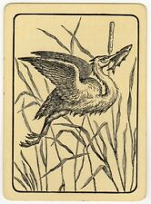 Playing Cards 1 Single Swap Card Old Antique Wide Flying HERON BIRD FISH in BEAK