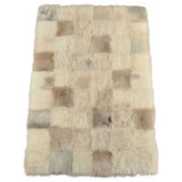 Öko Lammfell Teppich Melange grau beige 180 x 120 cm Fellteppich Patchwork