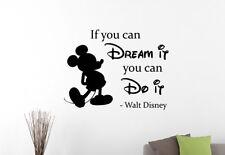 Walt Disney Quote Wall Sticker Mickey Mouse Vinyl Decal Art Kids Room Decor 22qz