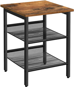 VASAGLE Side Table, Nightstand, End Table with 2 Adjustable Mesh Shelves, Easy