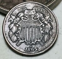 1865 Two Cent Piece 2C FULL MOTTO Civil War Era Good Date US Copper Coin CC6604