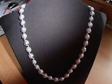 Perlen  Halskette Diamant Graue Perlen unterbrochen mit silber Perlen 51 cm