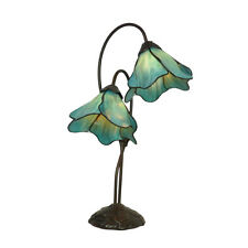 LOTUS 2GL TEAL TIFFANY STYLE TABLE LAMP LEAD LIGHT - WILL SHIP AUSTRALIA WIDE