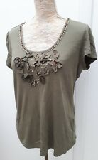 Per Una Ladies Size 16 Khaki Green Gold Embellished Tunic Top Summer Fashion M&S